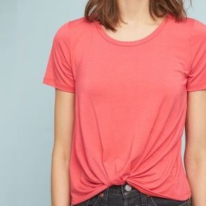 Anthropologie Twist-Front Thienne Coral Jersey Top